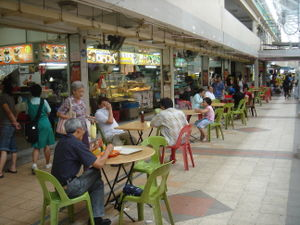 An open-air kopitiam (coffee shop) in Bendemee...