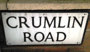 Street sign of Belfast's Crumlin Road, Ballysillan