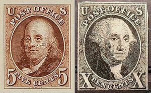 English: First US Postage Stamps, George Washi...