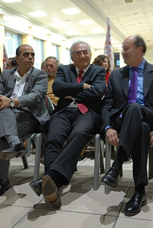 Kader Arif, Dominique Strauss-Kahn and Jean-Mi...
