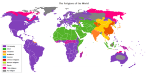 Major religions distribution.
