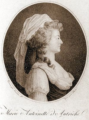 English: Engraving of Marie Antoinette à la pa...