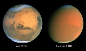 In the left image, thin martian clouds are vis...