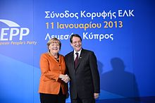 Angela Merkel with Nicos Anastasiades in 2013 at the EPP summit in Limassol
