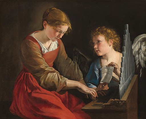 Orazio Gentileschi & Giovanni Lanfranco - Santa Cecilia con un angelo (National Gallery of Art)