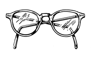 Line art drawing of spectacles. Suomi: Piirust...