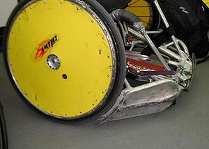 Close up picture of a used wheelchair rugby chair