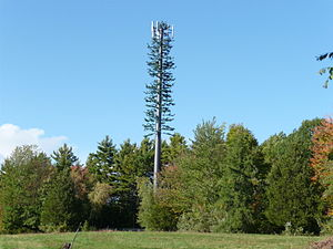 English: Cell phone tower cleverly disguised t...