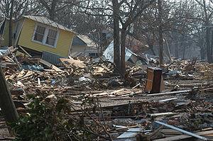 Hurricane Katrina pushed houses inland on the ...