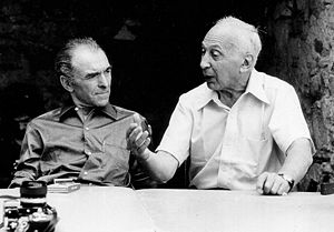 Photographers Robert Doisneau (left) and André...