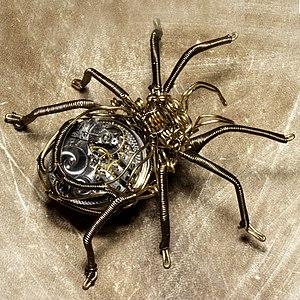 Steampunk Clockwork Spider Brass and Copper Wi...