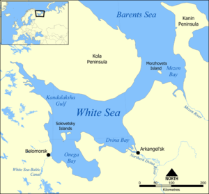 Yagodnik lies on an island in the Northern Dvi...