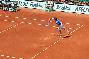 Andy Murray serving at the French Open