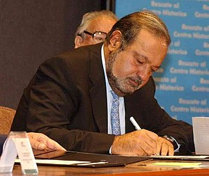 Cropped picture of Carlos Slim, a Mexican busi...