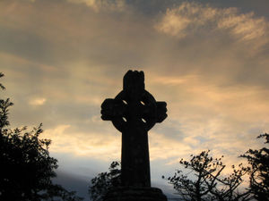 Celtic cross at dawn in Knock, Ireland (at the...
