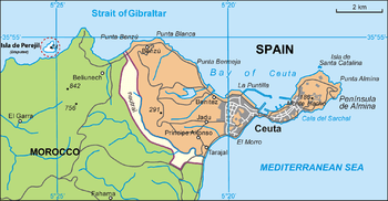 English: Map of Ceuta, Spain