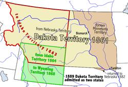 Mapa do Território do Dakota antes da divisão em Estados.