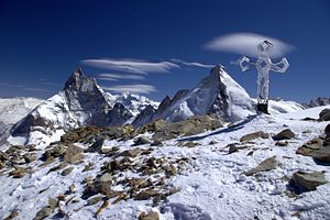 English: View of Matterhorn and Dent d'Hérens ...