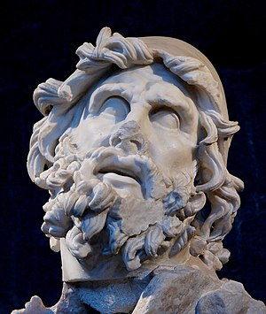 English: Head of Odysseus from a sculptural gr...