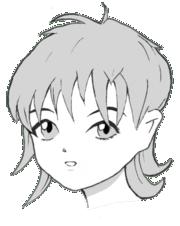 Um rosto desenhado em estilo mangá.