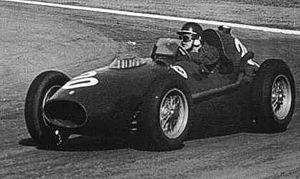 Mike Hawthorn drove his Ferrari at the 1958 Ar...
