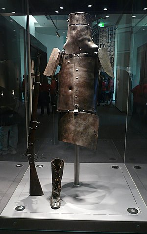 English: Ned Kelly armour, located at the Stat...