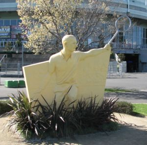 Sculpture depicting Rod Laver outside the Rod ...