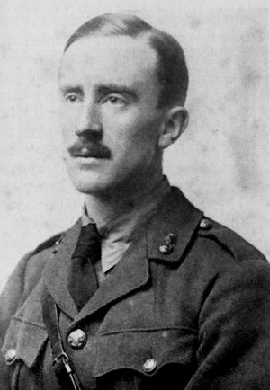 Tolkien in 1916, wearing his British Army unif...