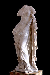 Aphrodite Ourania, draped rather than nude, an...