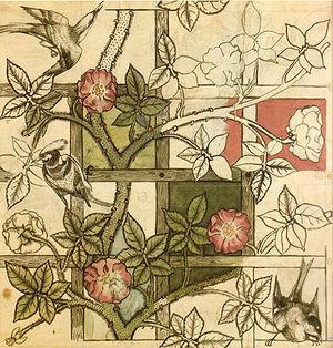 """William Morris design for """"Trellis"""" wallpaper, 1862"""