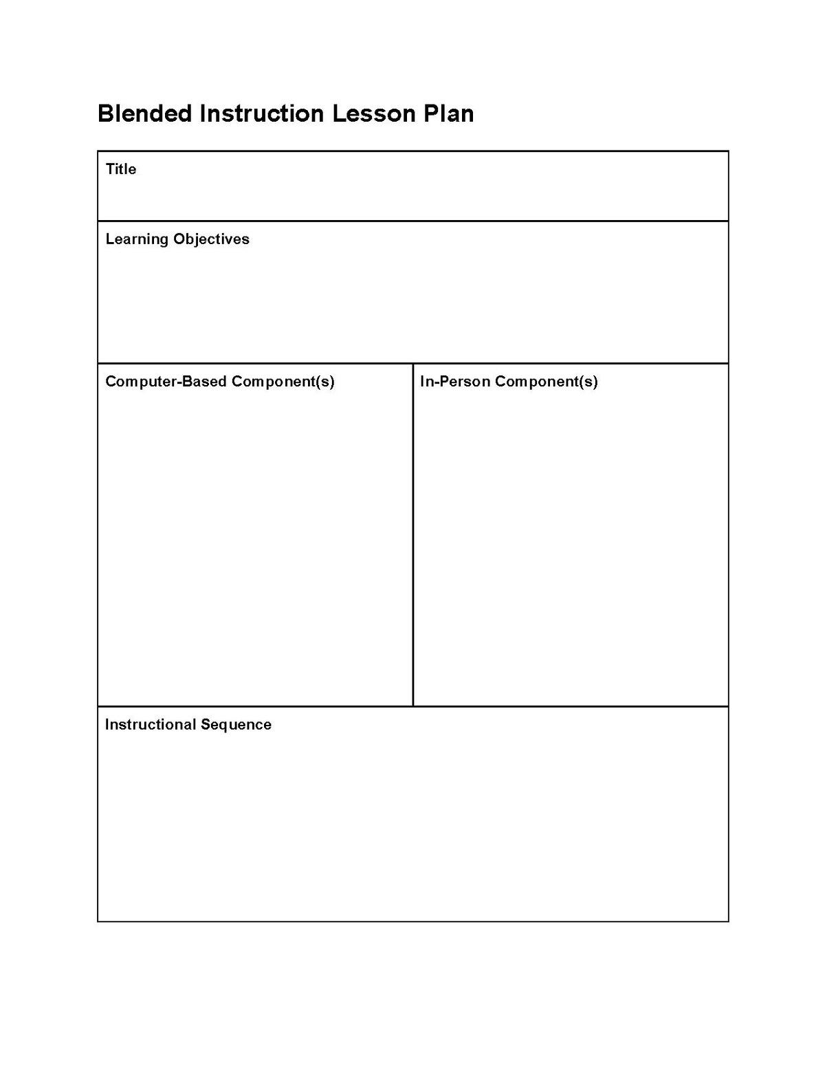 Instructional Design Blended Learning Lesson Plans
