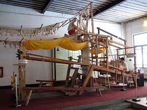 It takes a huge loom and two people running it...