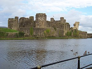 English: Took this picture of Caerphilly castl...