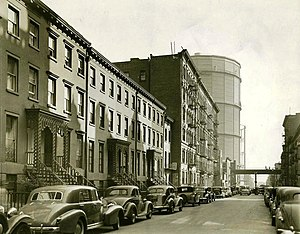 East 20th Street Looking In The Direction Of First Avenue 1938 This Picture Shows Two Huge Gas Holders That Gave Area Name House
