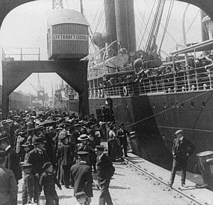 """""""Farewell to home."""" Emigrants bound ..."""