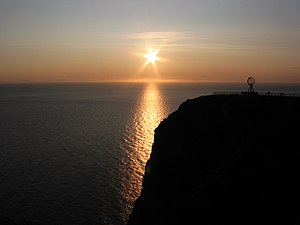 Midnight sun at Nordkapp, Norway.