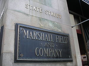 State Street sign of Marshall Field's store in...