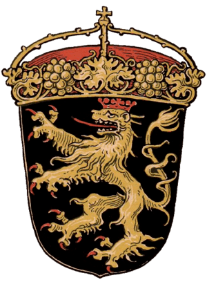 Coats of arms of the former Bavarian Kreis Rhe...