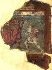 Miniatura dell'incontro tra Abramo e gli angeli, tratto da Cotton Genesis (V-VI secolo)