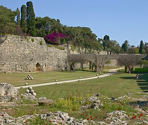 The moat of the medieval city of Rhodes, islan...