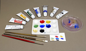 Gouache, a type of water-based paint composed ...