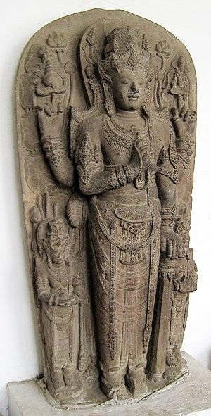The statue of Harihara, the half Shiva and hal...