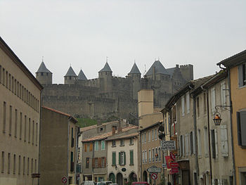 The medieval walled city of Carcassonne in France is built upon high ground to provide maximum protection from attackers.