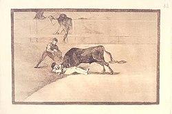 Grabado número 33 de la serie La tauromaquia de Goya. Representa el primer momento de la cogida de Pepe-Hillo, antes de que el toro lo elevase por los aires.