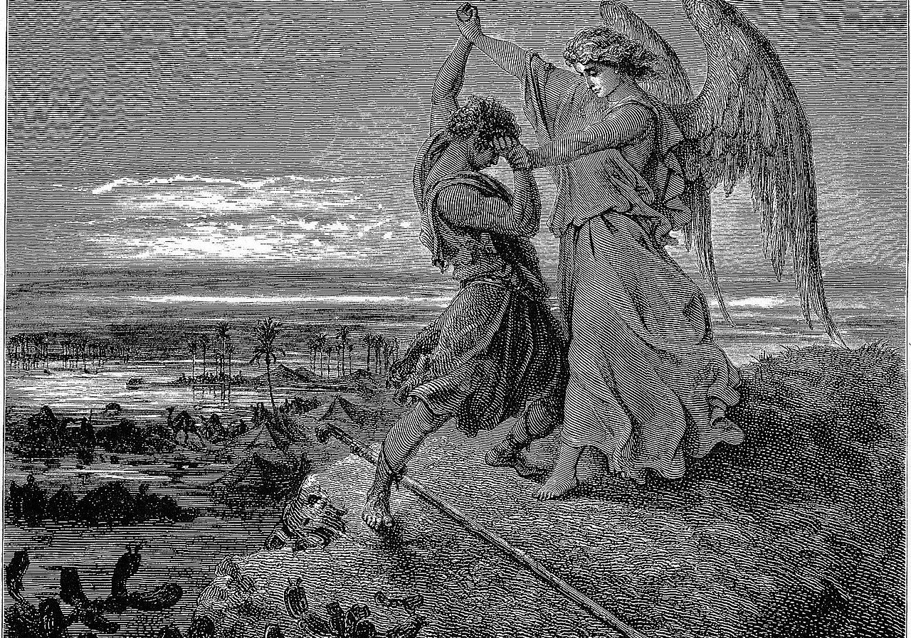 Gustave Doré: Jacob Wrestles with the Angel (Gen. 32:24-32), 1866, Woodcut