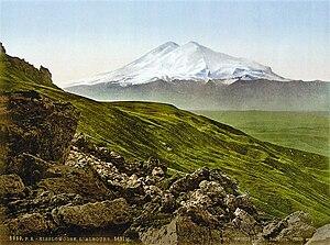 Mount Elbrus in the Caucasus Mountains, the hi...