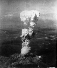 The mushroom cloud over Hiroshima after the dropping of Little Boy.