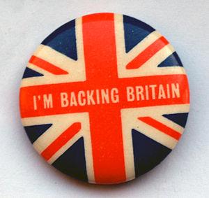 English: 'I'm Backing Britain' campaign badge ...