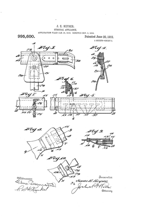 Page 2 from US Patent 995600 by Jonas E. Heyse...