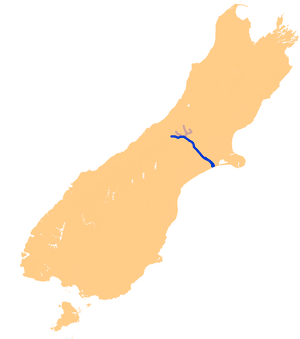 English: Location map of the Rakaia River, New...